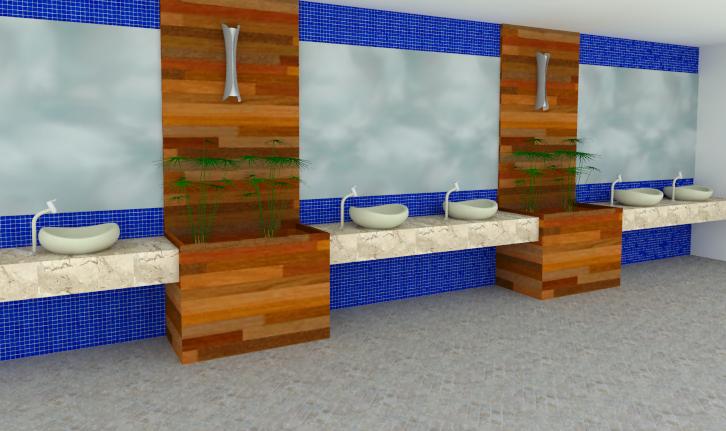 Aplicações de Pastilhas de Vidro Linha Cristal Puro – Casinha Bonita -> Banheiro Com Pastilha Azul Escuro