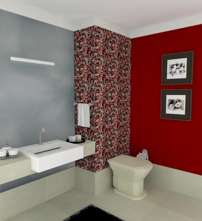 decoracao de banheiro vermelho e branco:Aplicações de Pastilhas de Vidro: Linhas Cristal Arte e Bricks