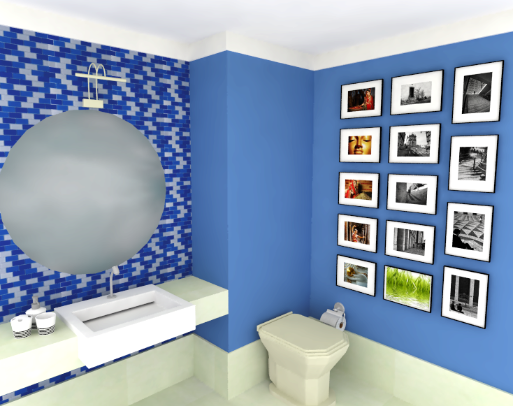 Aplicações de Pastilhas de Vidro Linhas Cristal Arte e Bricks – Casinha Bonita -> Decoracao De Banheiro Pequeno Com Pastilhas Azul