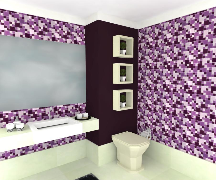 Pastilhas de Vidro Cristal Miscelanea Top Aplicadas em Banheiro - Roxo Lilas Violeta - Sincenet