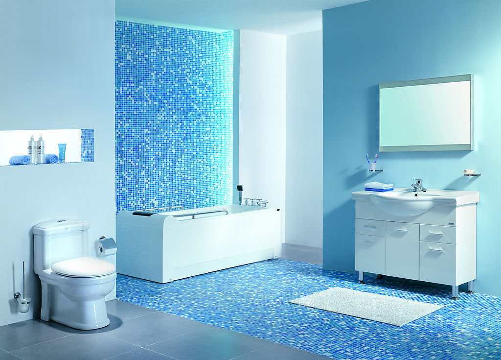 Banheiro com Pastilhas de Vidro I – Casinha Bonita -> Banheiro Com Acabamento Em Pastilhas