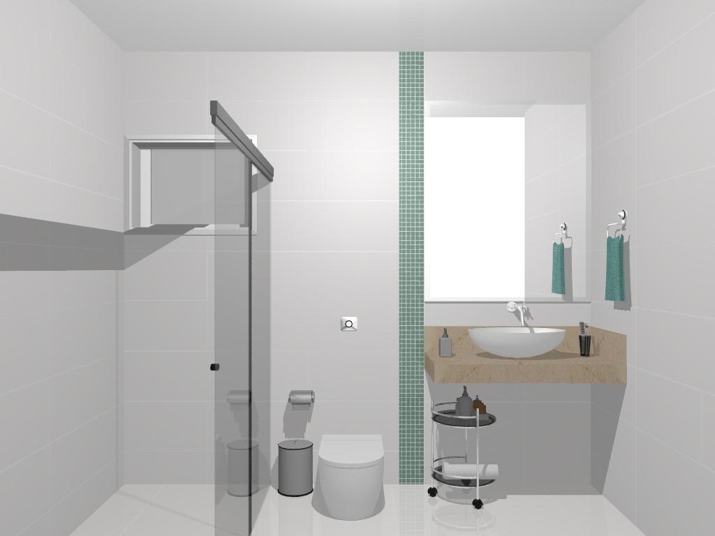 Banheiro com Pastilhas de Vidro Cristal XI – Casinha Bonita #4E7470 1024 768