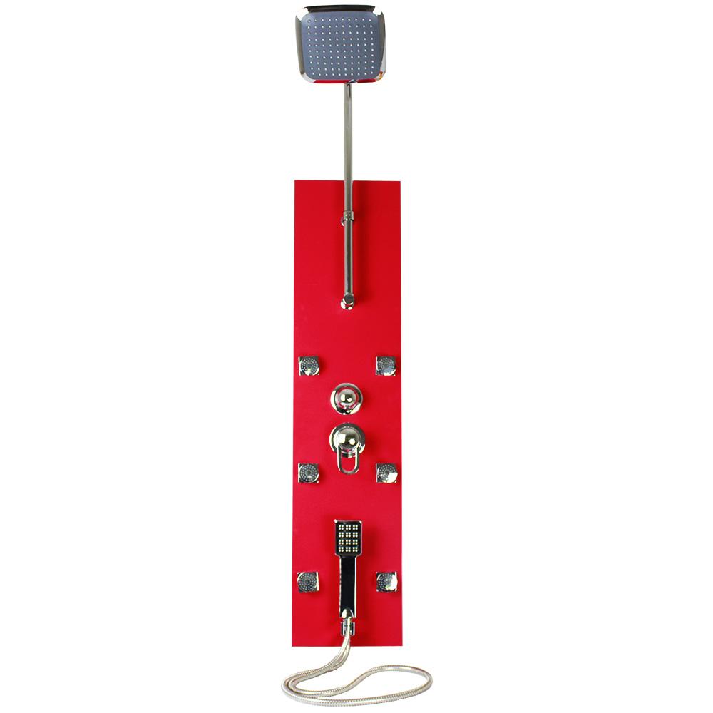 Ducha vertical com hidromassagem na cor vermelha em alumínio. É uma peça leve e de fácil instalação. Adeus quebra-quebras!