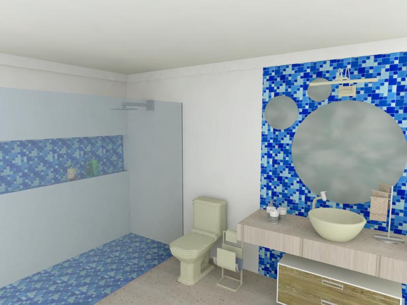 Banheiro com Pastilhas de Vidro Cristal IV.