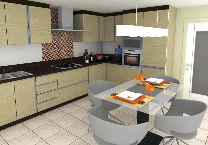 Cozinha Planejada com Pastilha de Vidro Cristal I