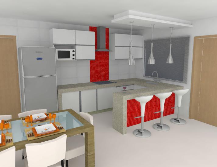Cozinha Planejada com Pastilha de Vidro Cristal VII