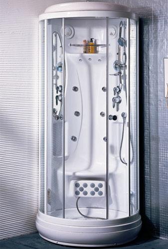 Esta ducha possui sauna, som FM, entrada para CD e receptor viva-voz para telefone! Fonte: www.istoe.com.br)