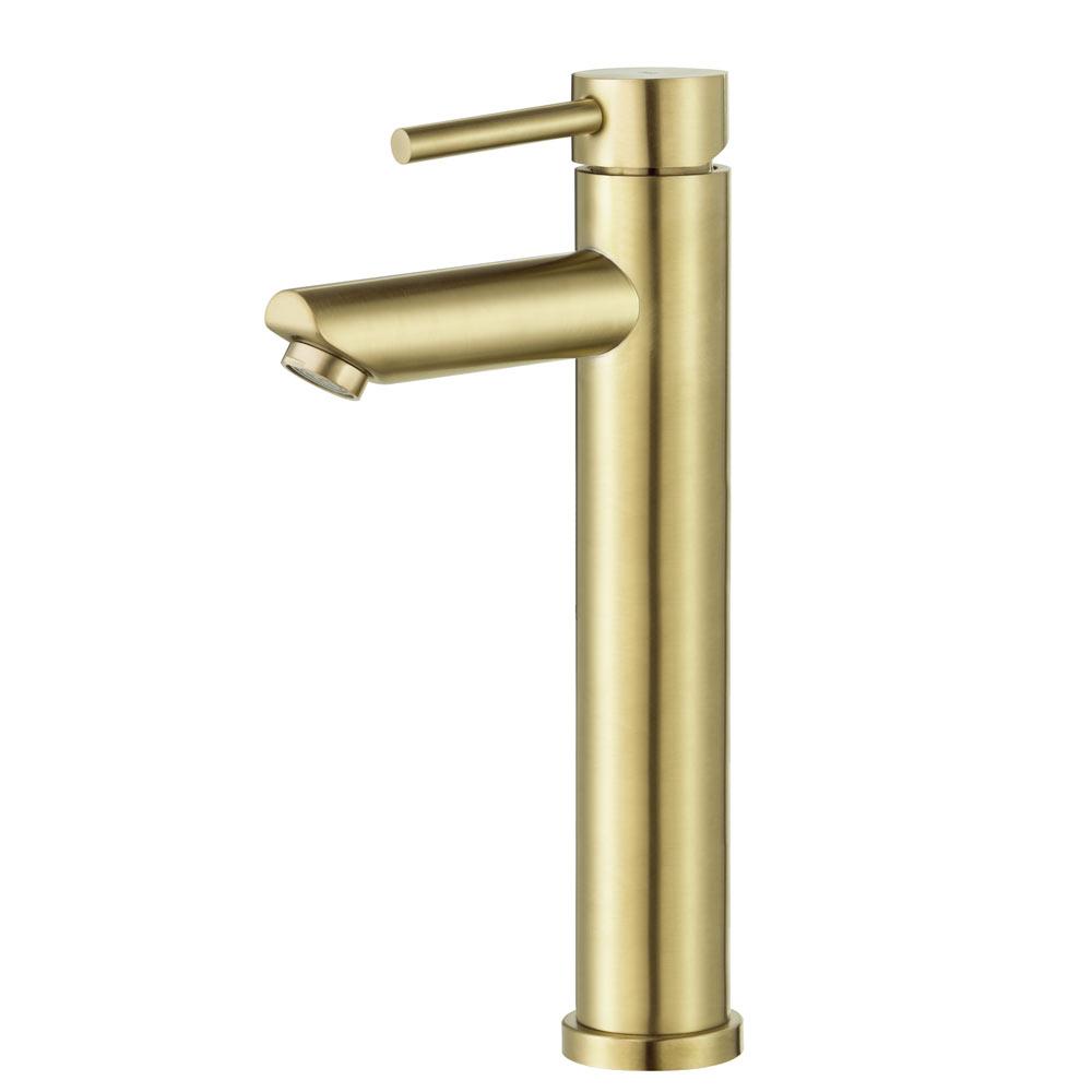 Torneira Monocomando Alta para Banheiro Inox (Lis Dourada)