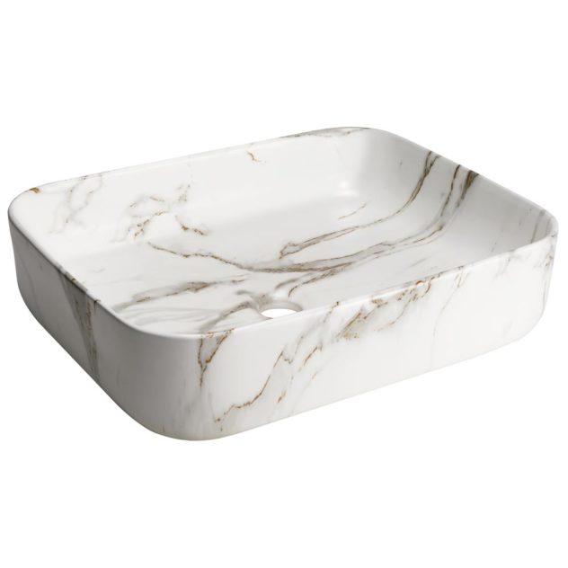 Cuba de Louça Mármore Branco Carrara