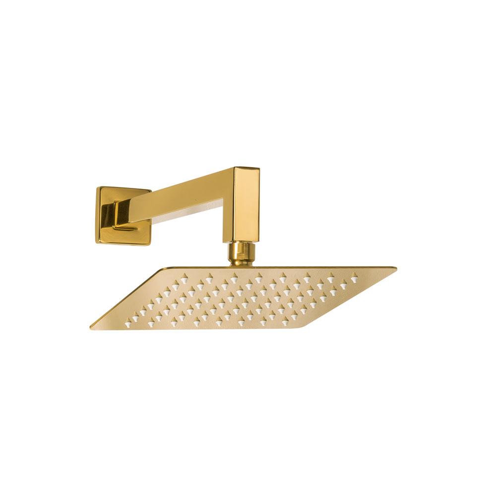 Ducha de Inox Quadrada 20x20 cm de Parede (Dourada)