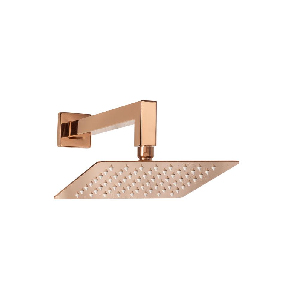 Ducha de Inox Quadrada 20x20 cm de Parede (Rosé Gold)