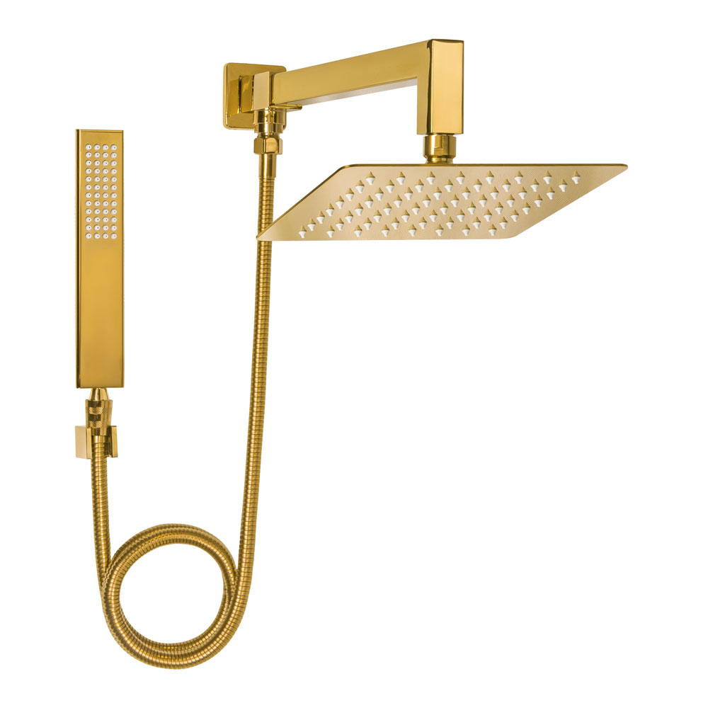 Ducha de Inox Quadrada 20x20 cm com Chuveirinho (Dourada)