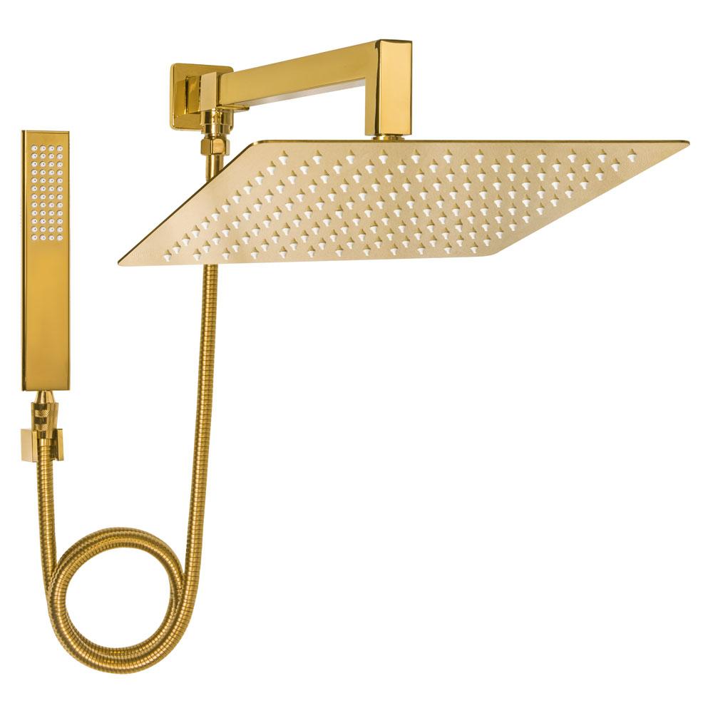 Ducha de Inox Quadrada 30x30 cm com Chuveirinho (Dourada)