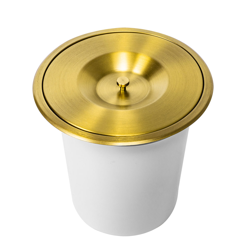 Lixeira Embutida de Cozinha Inox Redonda 7 Litros (Dourada)