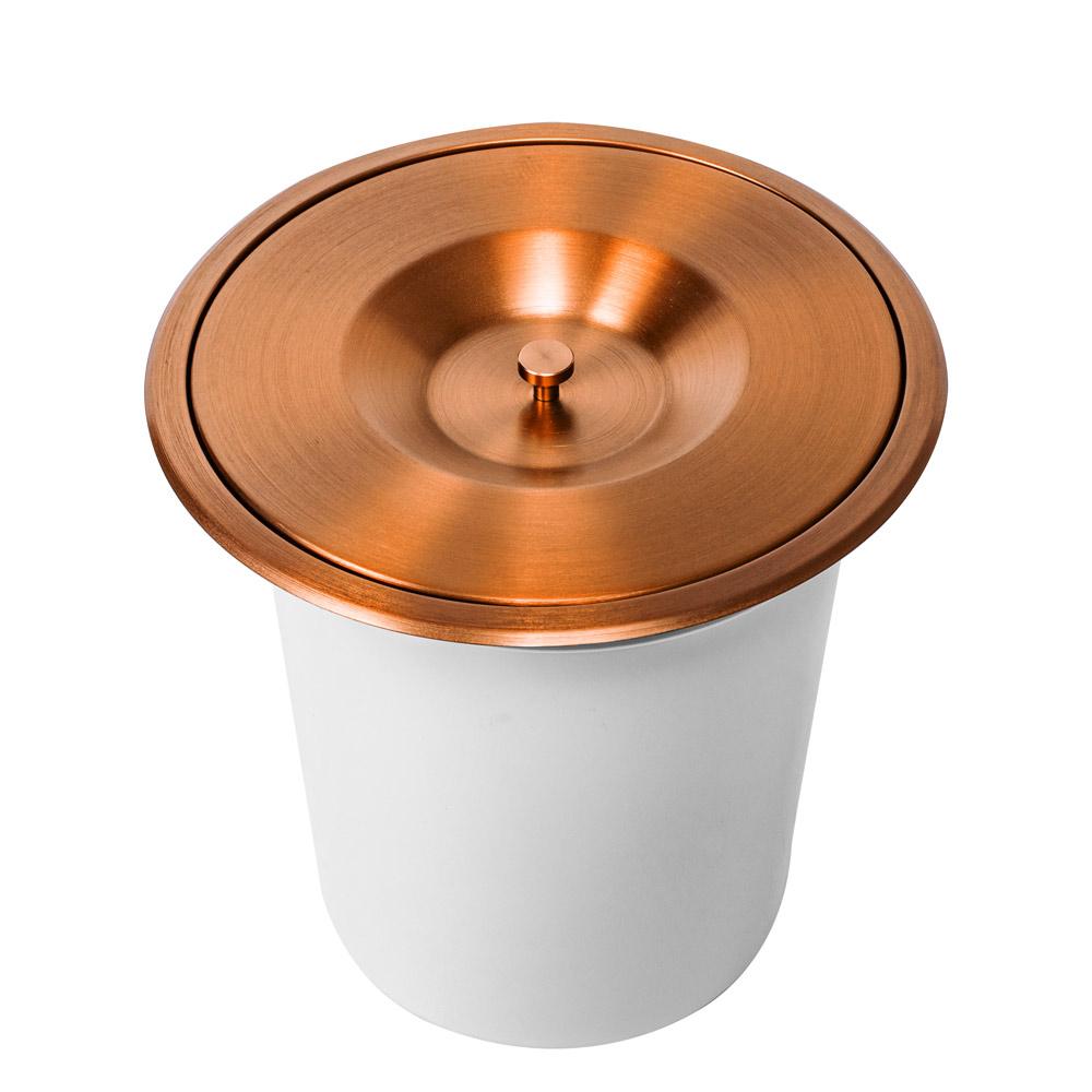 Lixeira Embutida de Cozinha Inox Redonda 7 Litros (Rosé Gold)