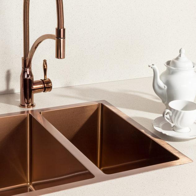 Bancada cozinha cuba torneira dosador de detergente rosé gold